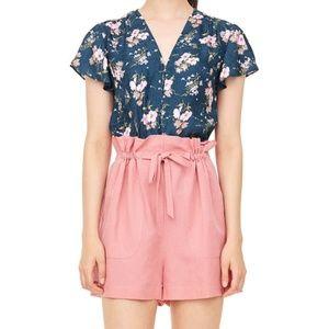 NWT Rebecca Taylor Slub Linen Blend Shorts